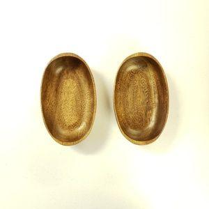 Vtg monkey pod oval bowls serving or trinkets